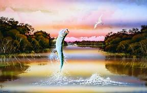 """FREE AGAIN!"" Tarpon, by Hal Stowers"